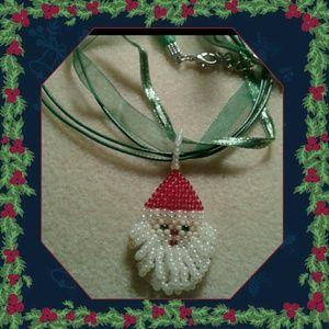 """Jewelry - """"Santa"""" beaded pendant/ necklace"""
